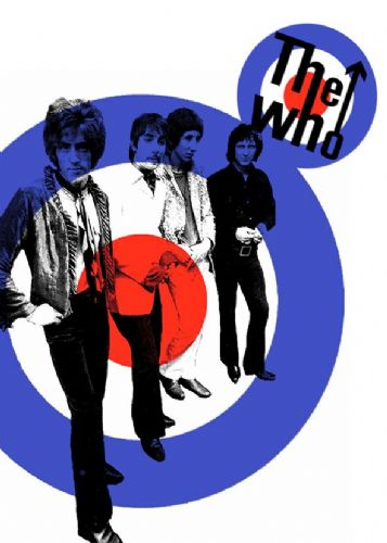 THE WHO - Band retro logo white art canvas print - self adhesive poster - photo print